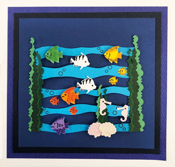 aquarium fish card, handcut out designs handmade designed by card baste designs and copyrighted