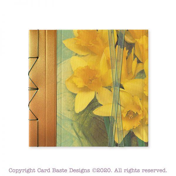 Daffodil card design, bronze, yellow, and green, handmade